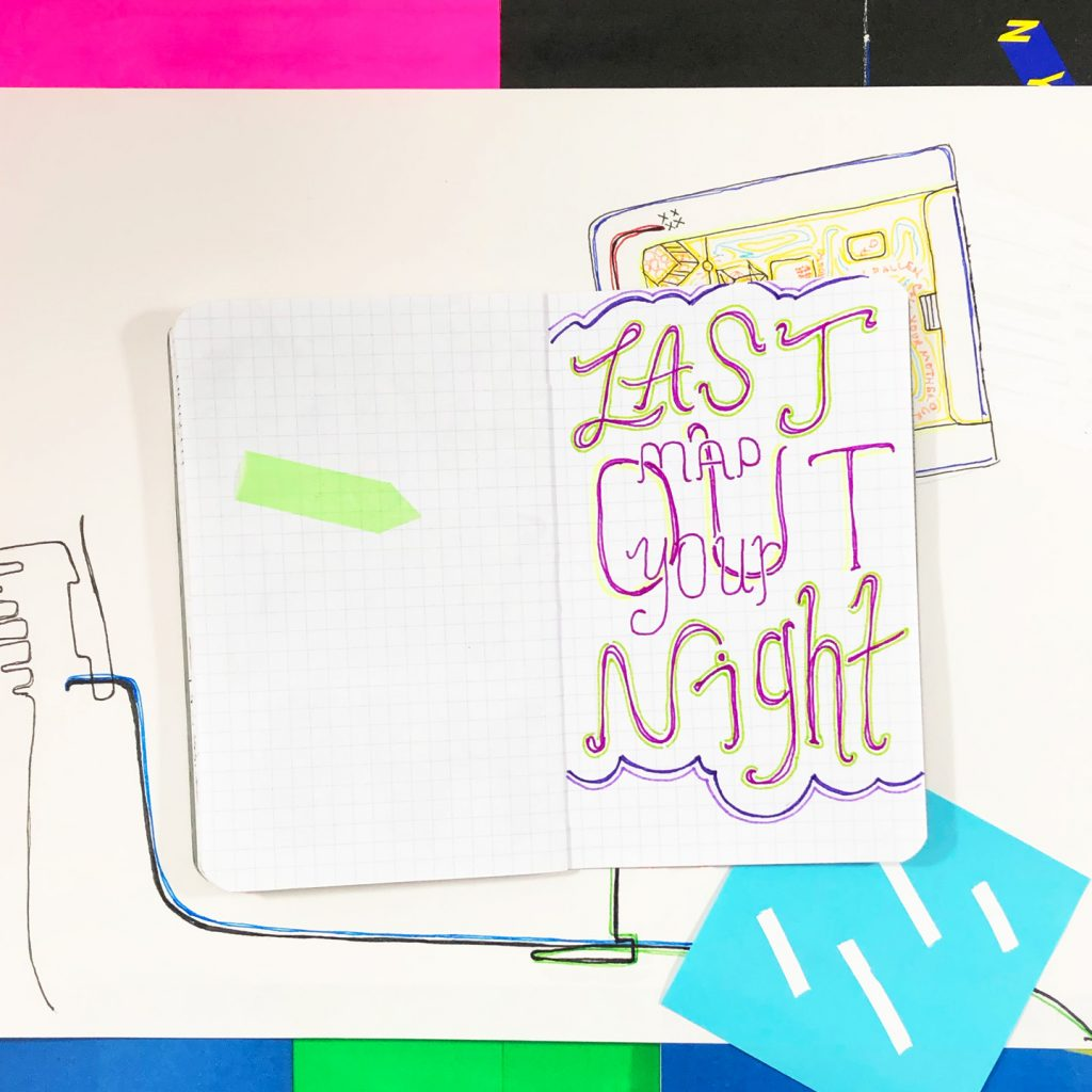 photograph of a notebook page titled map your last night out